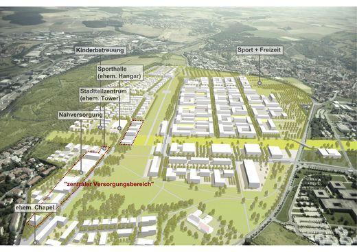 Verortung Infrastruktureinrichtungen Hubland (Stand Rahmenplan)