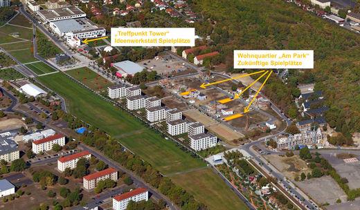 """© Nürnberg Luftbild, Hajo Dietz, 2018 – Wohnquartier """"Am Park"""" mit zukünftigen Spielplätzen"""