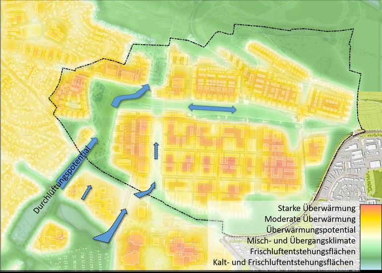 Klimafunktionskarte Hubland, Juli 2017